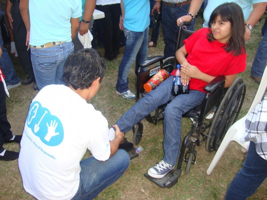 Girl from Honduras in wheelchair