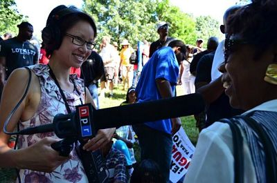 Photo Credit: Amy Ta on the National Mall, collecting interviews for the 50th Anniversary of the March on Washington. Photo by Kemi Aladesuyi.