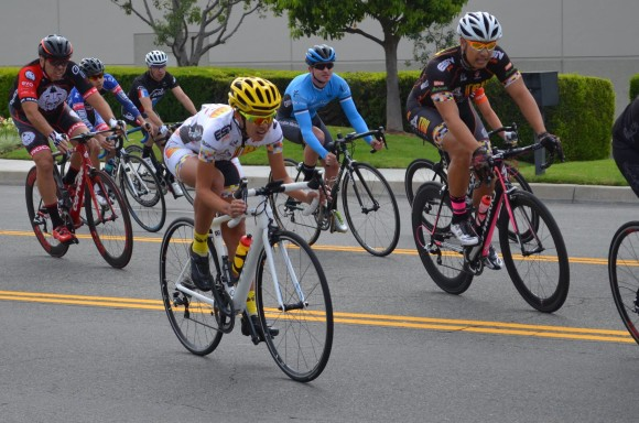 n the yellow helmet and socks, I take on my first men's race in Ontario, California, on March 22, 2015. Photo by Billy Cordero.