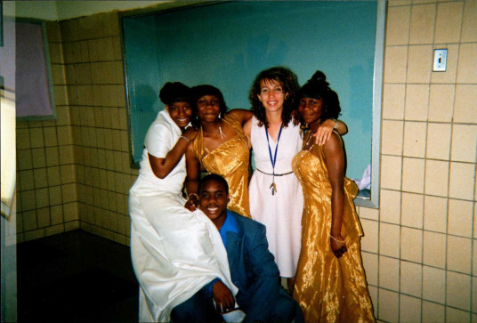 Amy Brown with some of her 8th grade students at prom, before she came to College Prep. (Courtesy of Amy Brown)