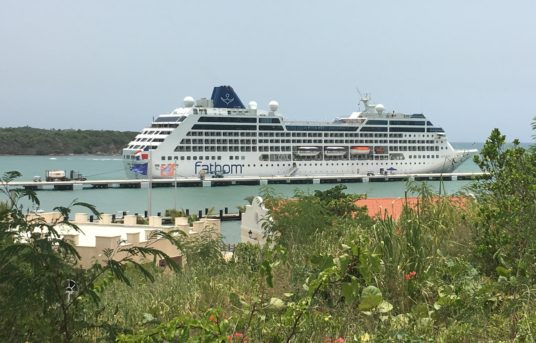 Fathom cruise ship docked in the Dominican Republic. (Credit: Julie Schear)